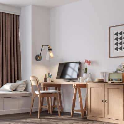 Modern Wall Sconce Lighting, Fenmore 1-Light Gold Plug-In or Hardwire Adjustable Swing Arm Wall Light