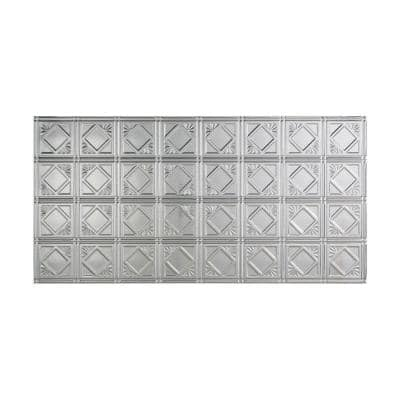 Traditional #4 2 ft. x 4 ft. Glue Up Vinyl Ceiling Tile in Brushed Aluminum (40 sq. ft.)