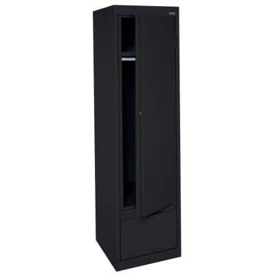System Series 64 in. H x 17 in. W x18 in. D Single Door Wardrobe Cabinet with File Drawer in Black