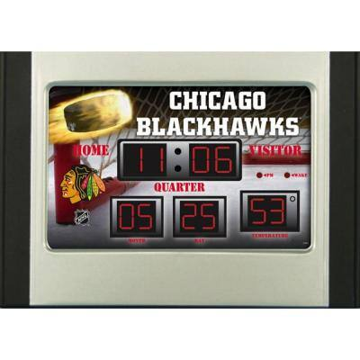 Chicago Blackhawks 6.5 in. x 9 in. Scoreboard Alarm Clock with Temperature