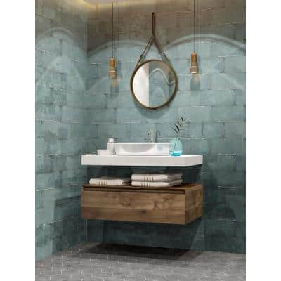 Jovani Cyan 6 in. x 12 in. Glossy Floor and Wall Porcelain Tile (11 sq. ft./Case)