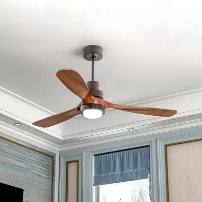 52 in. Integrated LED White Indoor Wood Ceiling Fan with Light and Remote Control 3 Solid Walnut Blades
