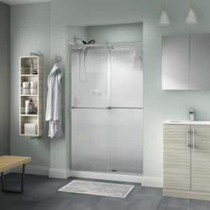 Everly 48 in. x 71 in. Contemporary Semi-Frameless Sliding Shower Door in Nickel and 1/4 in. (6mm) Droplet Glass