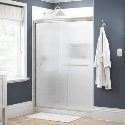Simplicity 60 in. x 70 in. Semi-Frameless Traditional Sliding Shower Door in Nickel with Rain Glass