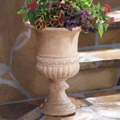 21.25 in. H Stone Scroll Band Urn in Aged Ivory Finish