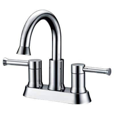 Plymouth 4 in. Centerset 2-Handle Bathroom Faucet with 4 in. deck plate in Chrome Finish