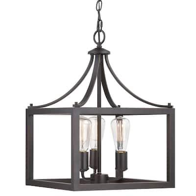 Boswell Quarter 3-Light Distressed Black Pendant