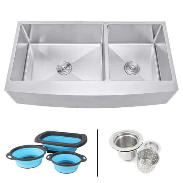 Emoderndecor Farmhouse Apron 16 Gauge Stainless Steel 42 In Curve Front 60 40 Offset Double Bowl Kitchen Sink W Silicone Colanders Efo4221r Ckc The Home Depot