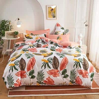 3-Piece Pink Microfiber Polyester Queen Comforter Set with 2 Pillow Shams
