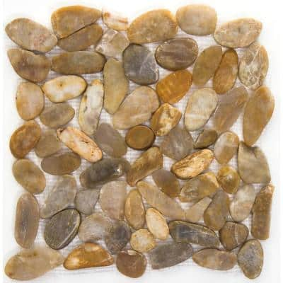 Rivera Pebbles Gold Honed 12.01 in. x 12.01 in. x 11 mm Pebbles Mesh-Mounted Mosaic Tile (1 sq. ft.)