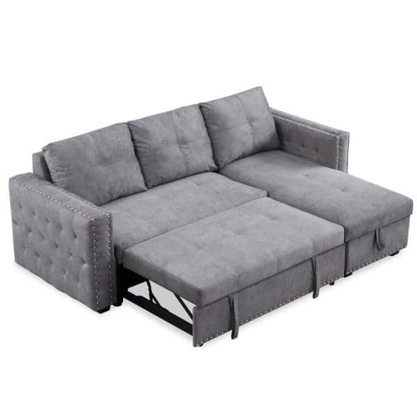 Boyel Living 91 In Gray Polyester, Grey Sectional Sofa Bed
