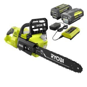 14 in. 40-Volt Brushless Lithium-Ion Cordless Chainsaw - Two 4 Ah Batteries and Charger Included