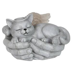 Solar Cradled Angel Cat Statue