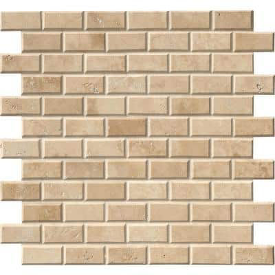 Tuscany Ivory 12 in. x 12 in. x 10 mm Honed Beveled Travertine Mosaic Tile (10 sq. ft. / case)