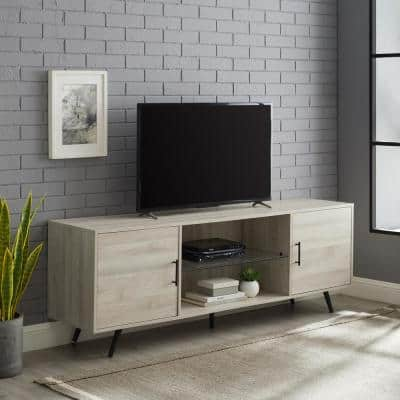70 in. Birch Composite TV Stand Fits TVs Up to 75 in. with Storage Doors
