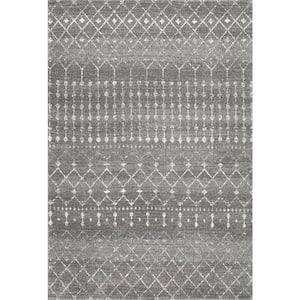 Blythe Modern Moroccan Trellis Dark Gray 10 ft. x 14 ft. Area Rug
