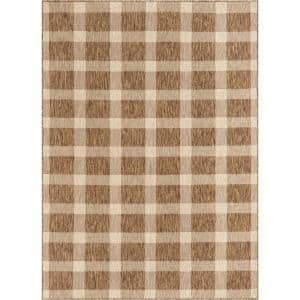 Medusa Freya Brown Checkered 5 ft. 3 in. x 7 ft. 3 in. Indoor/Outdoor Area Rug
