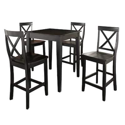 5-Piece Black Pub Dining Set With X-Back Stools