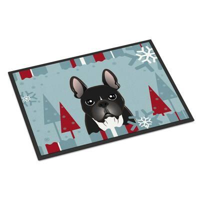 24 in. x 36 in. Indoor/Outdoor Winter Holiday French Bulldog Door Mat
