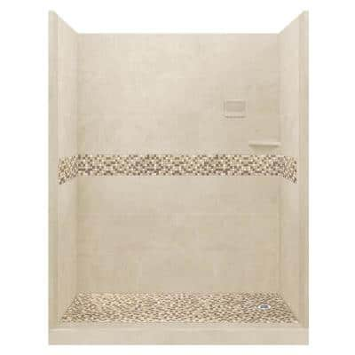 Roma 60 in. L x 30 in. W x 80 in. H Right Drain Alcove Shower Kit with Shower Wall and Shower Pan in Desert Sand