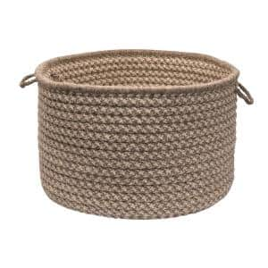 Natural Wool 24 in. x 24 in. x 14 in. Dogstooth Basket in Latte