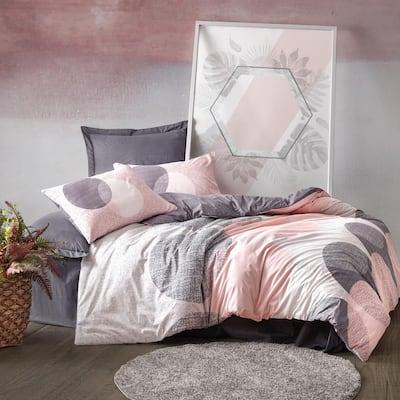 Peach Circles Duvet Cover Set : Pink, Queen Size Duvet Cover, 1 Duvet Cover, 1 Fitted Sheet and 2 Pillowcases