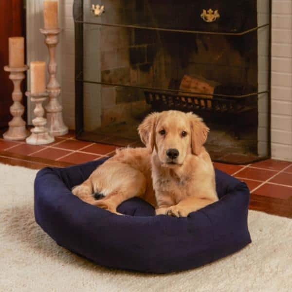 Happy Hounds Max Large Xl Rectangle Indoor Outdoor Navy Bumper Dog Bed Db325l Xl Navy The Home Depot