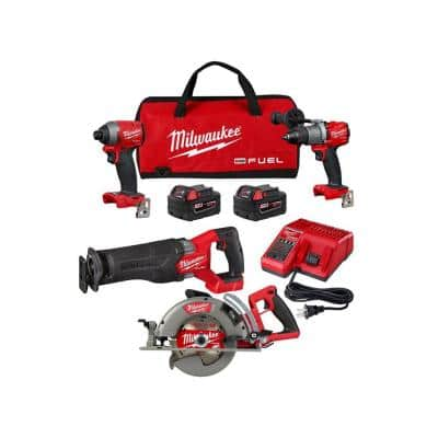 Milwaukee M18 FUEL 18-Volt Lithium-Ion Brushless Cordless Combo Kit (3-Tool) w/ 7-1/4 in Rear Handle Circular Saw