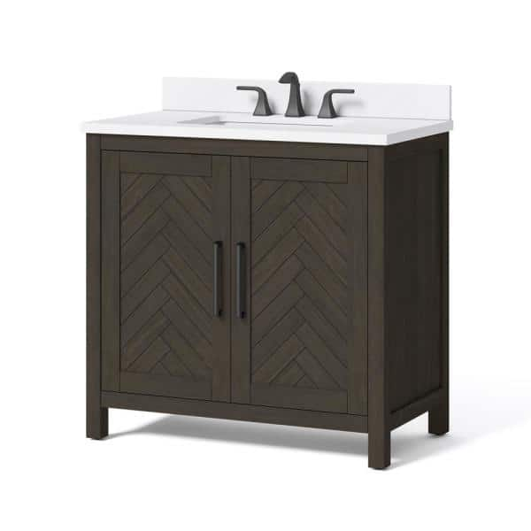 Home Decorators Collection Leary 36 In W X 34 5 In H Bath Vanity In Dark Brown With Engineered Stone Vanity Top In White With White Basin Hdc36hrv The Home Depot