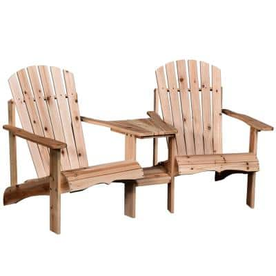 Wood Reclined Adirondack Chairs with Umbrella Hole, Perfect for Lounging and Relaxing Outdoors