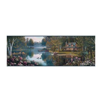 Meditation Lake Border blue/pink Wallpaper Border