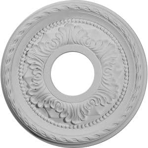 12-1/8'' x 3-1/2'' I.D. x 1'' Palmetto Urethane Ceiling Medallion (Fits Canopies upto 4-7/8''), Primed White