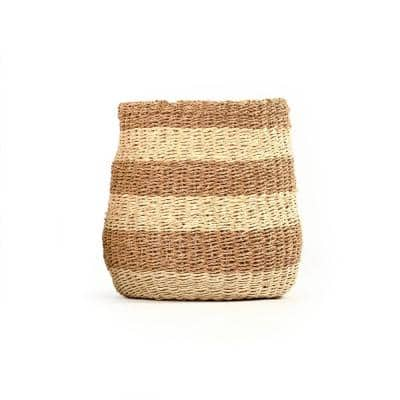 Concave Hand Woven Wicker Seagrass and Palm Leaf with Light and Dark Stripes Medium Basket