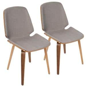 Serena Walnut and Light Grey Accent Chair (Set of 2)