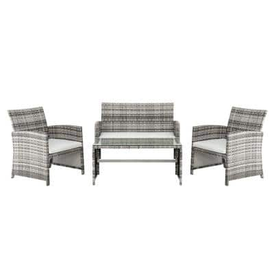 Coastal Grey 4-Piece Wicker Patio Conversation Set with White Cushions