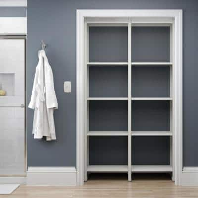 46.5 in. W White Adjustable Tower Wood Closet System with 10 Shelves