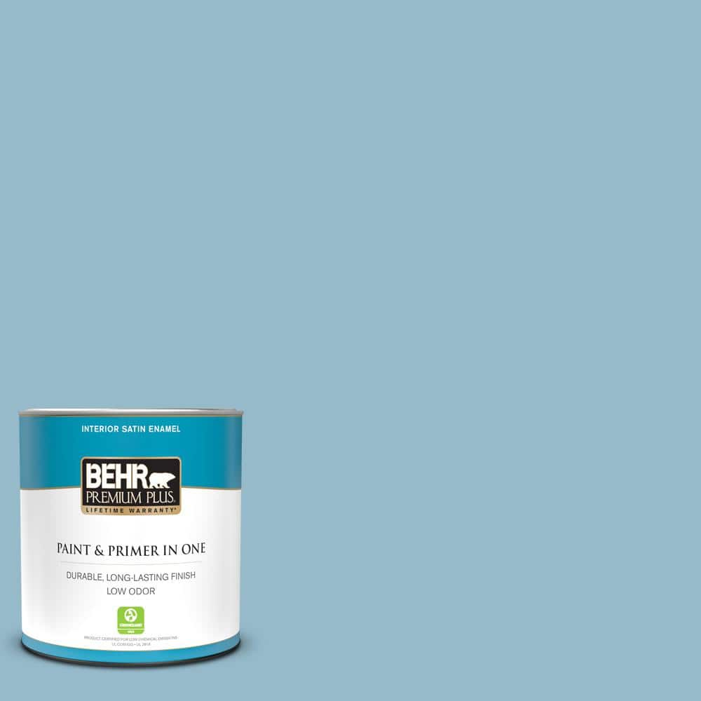 Reviews For Behr Premium Plus 1 Qt S480 3 Sydney Harbour Satin Enamel Low Odor Interior Paint And Primer In One 705004 The Home Depot