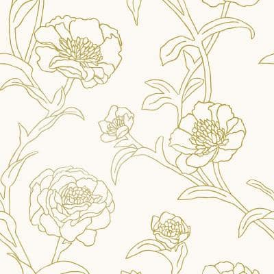 Peonies Gold Peel & Stick Wallpaper (Covers 28 Sq. Ft.)