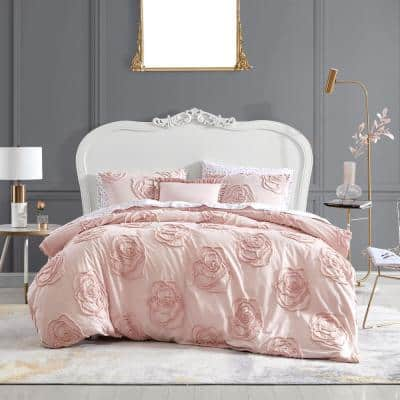 Rambling Rose 4-Piece Pink Cotton King Duvet Cover Set