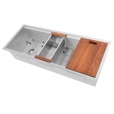 Garmisch DuraSnow 19g Stainless Steel 43 in. Single Bowl Undermount Kitchen Sink with Accessories
