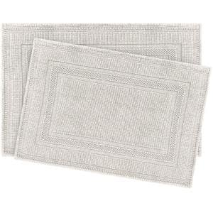 Cotton Stonewash Racetrack Light Grey 20 in. x 32 in Solid Bordered 2-Piece Bath Rug Set