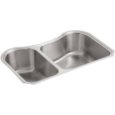 Staccato Undermount Stainless Steel 32 in. Offset Double Bowl Kitchen Sink