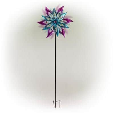 64 in. Tall Outdoor Floral Windmill Stake with Gems Kinetic Spinner, Purple and Aqua