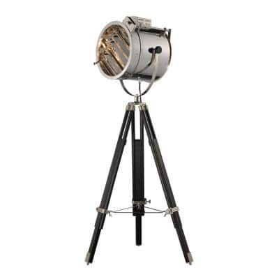 Curzon 67 in. Chrome and Black Adjustable Floor Lamp