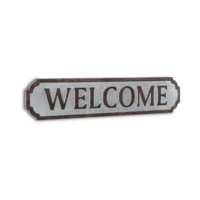 Welcome Horizontal Galvanized Wall Sign