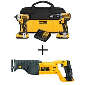 20-Volt MAX XR Cordless Brushless Drill/Impact Combo Kit (2-Tool) with (2) 20-Volt 2.0Ah Batteries & Reciprocating Saw