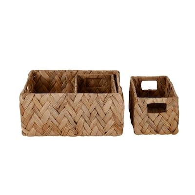 Rectangle Natural Water Hyacinth Herringbone Decorative Baskets (Set of 3)