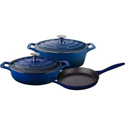 Range Collection 5-Piece Cast Iron Cookware Set in Ultramarine Blue