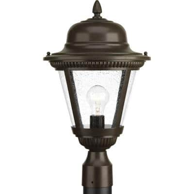 Westport Collection 1-Light Antique Bronze Clear Seeded Glass Traditional Outdoor Post Lantern Light