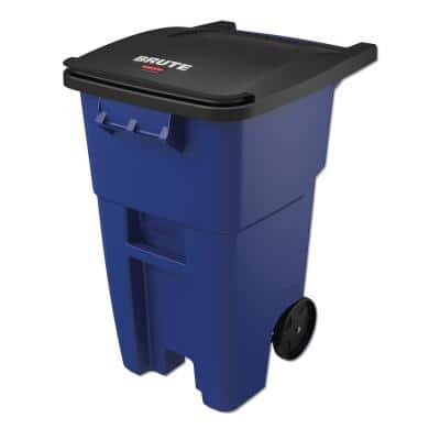 Brute 50 Gal. Blue Plastic Square Rollout Trash Can with Lid